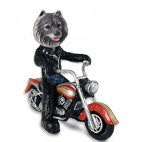 Keeshond Motorcycle Doogie Collectable Figurine