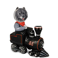 Keeshond Train Doogie Collectable Figurine