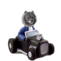 Keeshond Hot Rod Doogie Collectable Figurine
