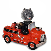 Keeshond Fire Engine Doogie Collectable Figurine