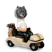 Keeshond Golf Cart Doogie Collectable Figurine