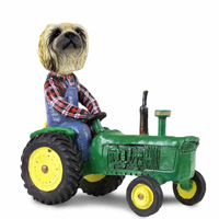 Pekingese Tractor Doogie Collectable Figurine