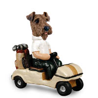 Airedale Golf Cart Doogie Collectable Figurine