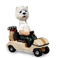 West Highland Terrier Golf Cart Doogie Collectable Figurine