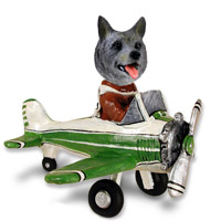 Norwegian Elkhound Airplane Doogie Collectable Figurine