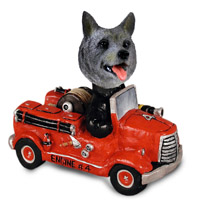 Norwegian Elkhound Fire Engine Doogie Collectable Figurine