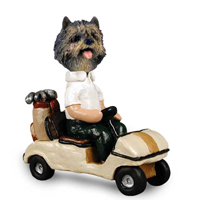 Cairn Terrier Brindle Golf Cart Doogie Collectable Figurine