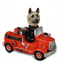 Akita Fawn Fire Engine Doogie Collectable Figurine