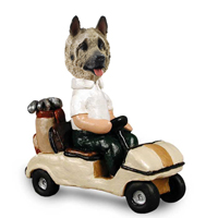 Akita Fawn Golf Cart Doogie Collectable Figurine