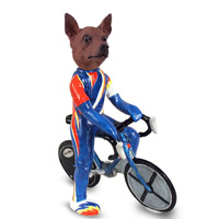 Miniature Pinscher Red & Brown Bicycle Doogie Collectable Figurine