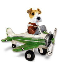 Wire Fox Terrier Red Airplane Doogie Collectable Figurine