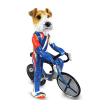 Wire Fox Terrier Red Bicycle Doogie Collectable Figurine
