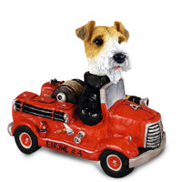 Wire Fox Terrier Red Fire Engine Doogie Collectable Figurine
