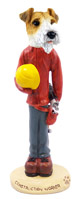 Wire Fox Terrier Red Construction Worker Doogie Collectable Figurine