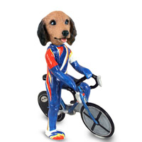 Dachshund Longhaired Red Bicycle Doogie Collectable Figurine