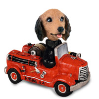 Dachshund Longhaired Red Fire Engine Doogie Collectable Figurine