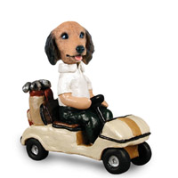 Dachshund Longhaired Red Golf Cart Doogie Collectable Figurine