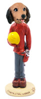Dachshund Longhaired Red Construction Worker Doogie Collectable Figurine