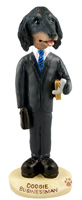 Dachshund Longhaired Black  Businessman Doogie Collectable Figurine