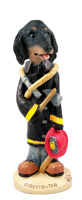 Dachshund Longhaired Black  Fireman Doogie Collectable Figurine