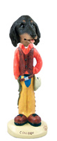 Dachshund Longhaired Black  Cowboy Doogie Collectable Figurine