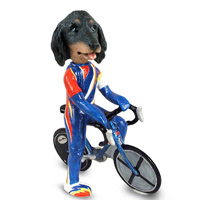 Dachshund Longhaired Black  Bicycle Doogie Collectable Figurine
