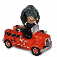 Dachshund Longhaired Black  Fire Engine Doogie Collectable Figurine