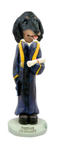 Dachshund Longhaired Black  Graduate Doogie Collectable Figurine