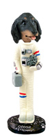 Dachshund Longhaired Black  Astronaut Doogie Collectable Figurine