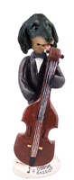 Dachshund Longhaired Black  Bassist Doogie Collectable Figurine