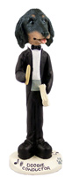 Dachshund Longhaired Black  Conductor Doogie Collectable Figurine