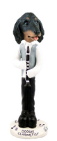 Dachshund Longhaired Black  Clarinetist Doogie Collectable Figurine