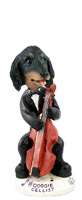 Dachshund Longhaired Black  Cellist Doogie Collectable Figurine