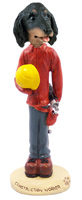 Dachshund Longhaired Black  Construction Worker Doogie Collectable Figurine