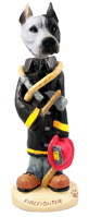 Pit Bull White Fireman Doogie Collectable Figurine