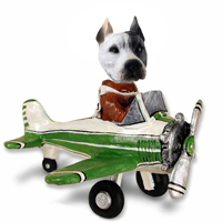 Pit Bull White Airplane Doogie Collectable Figurine