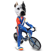 Pit Bull White Bicycle Doogie Collectable Figurine