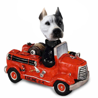 Pit Bull White Fire Engine Doogie Collectable Figurine