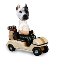 Pit Bull White Golf Cart Doogie Collectable Figurine
