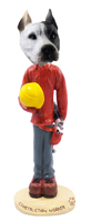 Pit Bull White Construction Worker Doogie Collectable Figurine