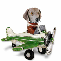 Weimaraner Airplane Doogie Collectable Figurine