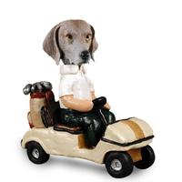 Weimaraner Golf Cart Doogie Collectable Figurine