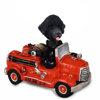 Portuguese Water Dog Fire Engine Doogie Collectable Figurine