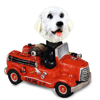 Great Pyrenees Fire Engine Doogie Collectable Figurine