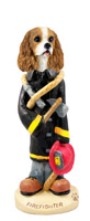 Cavalier King Charles Spaniel Brown & White Fireman Doogie Collectable Figurine
