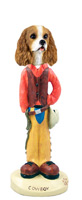Cavalier King Charles Spaniel Brown & White Cowboy Doogie Collectable Figurine