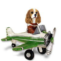 Cavalier King Charles Spaniel Brown & White Airplane Doogie Collectable Figurine