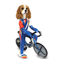 Cavalier King Charles Spaniel Brown & White Bicycle Doogie Collectable Figurine