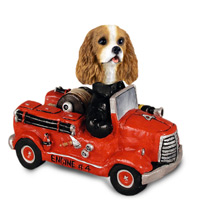 Cavalier King Charles Spaniel Brown & White Fire Engine Doogie Collectable Figurine