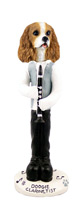 Cavalier King Charles Spaniel Brown & White Clarinetist Doogie Collectable Figurine